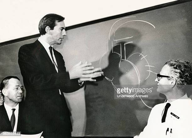 Heart surgeon and transplant pioneer Dr Christiaan Barnard illustrates a point after he had performed the first successful heart transplant operation...