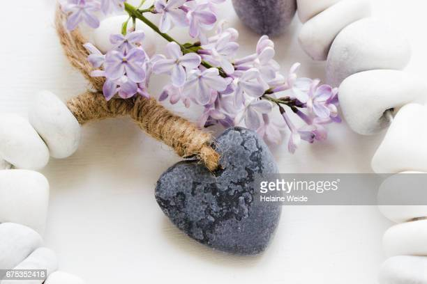 Heart with Lilac and stones