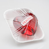 Heart wrapped with cellophane