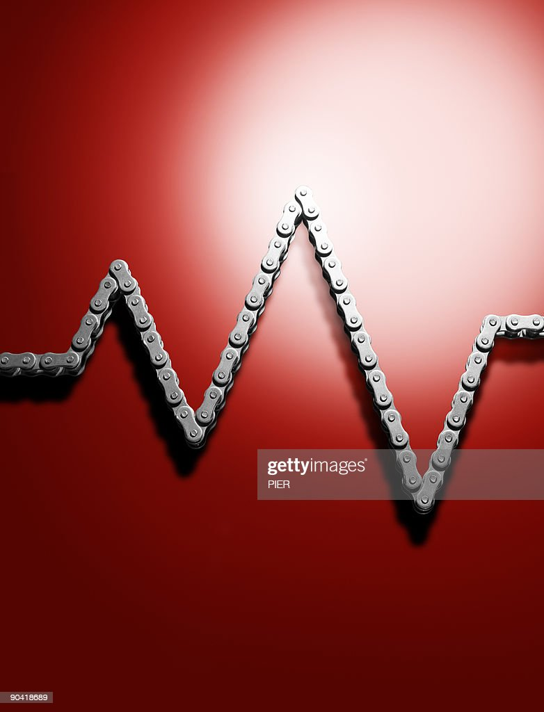 Heartbeat reading made from steel chain : Stock Photo