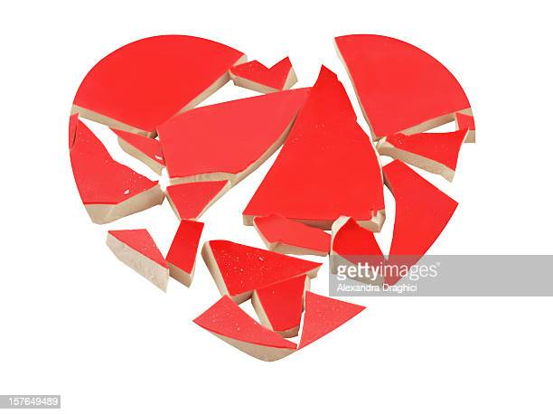Heartbreak concept with broken heart isolated on white.