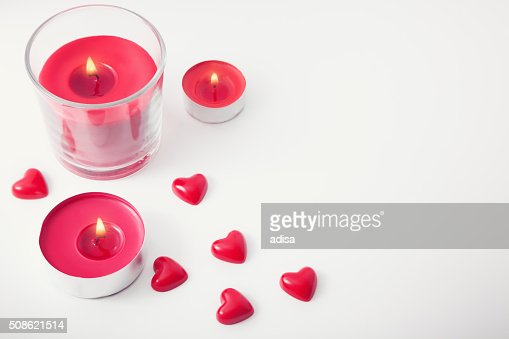 Hearts and candles : Stock Photo