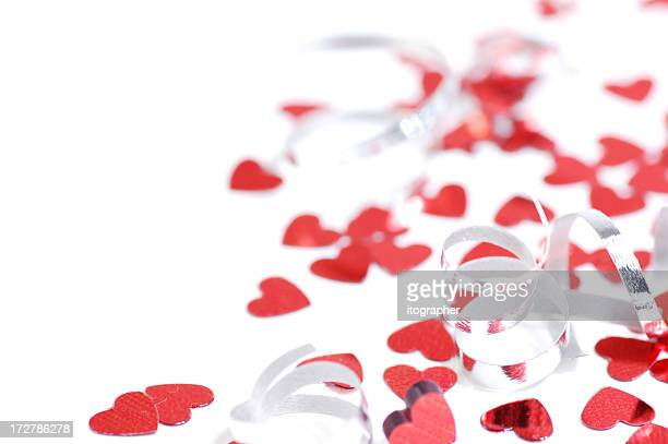 Hearts and confetti