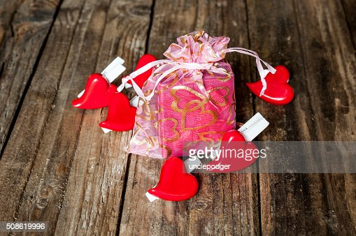 Hearts and gift box for Valentine's Day : Stock Photo