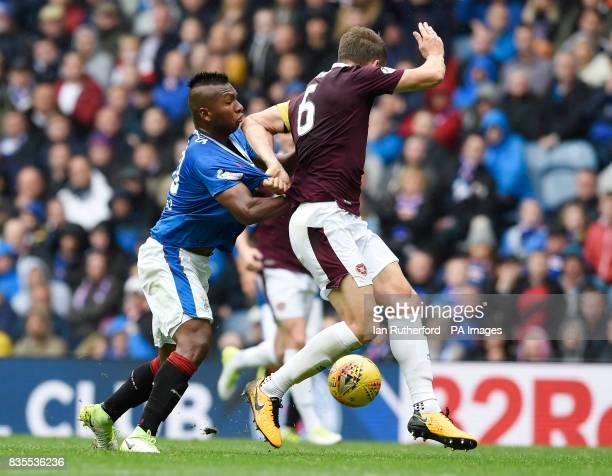 Hearts Christophe Berra tackles Rangers Alfredo Morelos during the Scottish Premiership match at Ibrox Glasgow