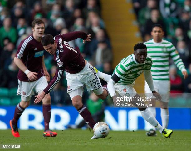 Hearts' Dylan McGowan tackles Celtic's Victor Wanyama during the Clydesdale Bank Scottish Premier League match at Celtic Park Glasgow