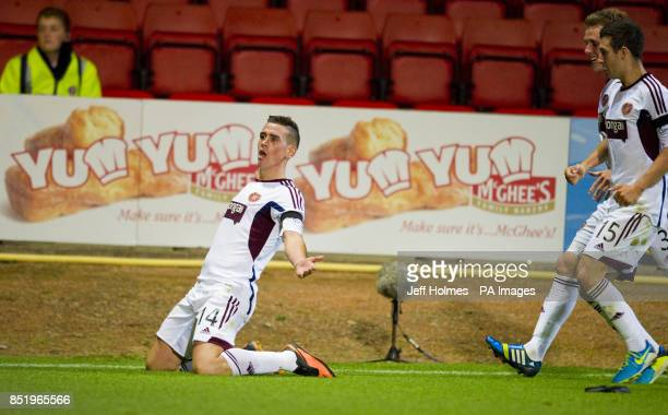 Hearts Jamie Walker celebrates after scoring the equalizer during the Scottish Premiership match Firhill Stadium Glasgow