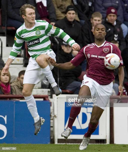 Heart's Jose Goncalves battles with Celtic's Aiden McGeady during the Clydesdale Bank Scottish Premier League match at Tynecastle Edinburgh
