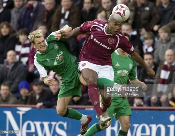 Hearts' Jose Goncalves battles with Hibernian's Dean Shiels during the Clydesdale Bank Scottish Premier League match at Tynecastle Stadium Edinburgh