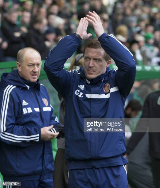 Hearts manager Gary Locke and assistant manager Billy Brown during the Scottish Premiership match at Celtic Park Glasgow