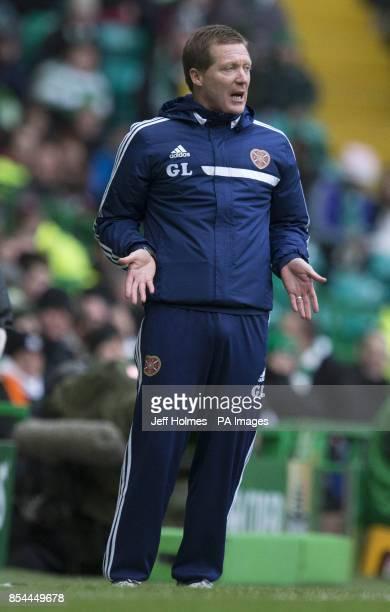 Hearts manager Gary Locke during the Scottish Premiership match at Celtic Park Glasgow