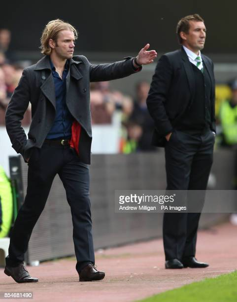 Hearts manager Robbie Neilson and Hibernian Manager Allan Stubbs during the Scottish Premier League match at Tynecastle Stadium Edinburgh