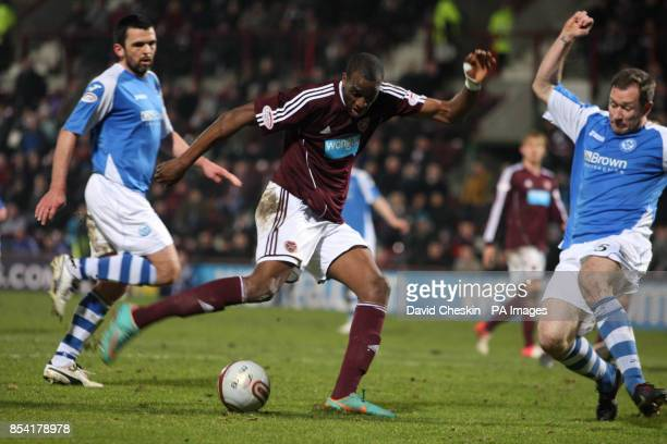 Hearts Michael Ngoo in action during the Clydesdale Bank Premier League match at the Tynecastle Stadium Edinburgh