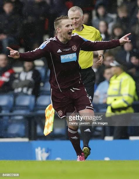 Heart's Ryan Stevenson celebrates his goal during the Scottish Communities League Cup Final at Hampden Park Glasgow