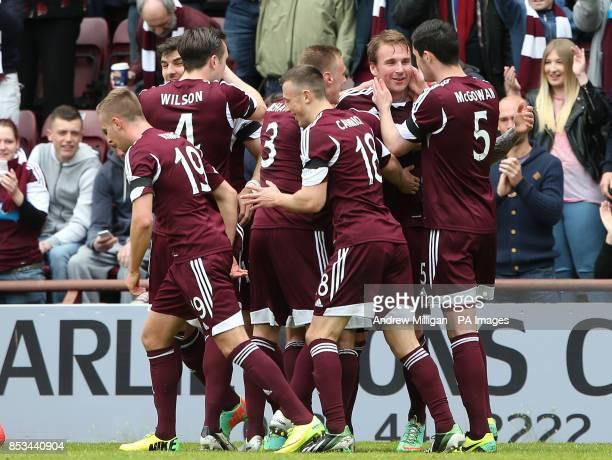 Hearts' Ryan Stevenson celebrates scoring first goal during the Scottish Premier League match at Tynecastle Stadium Edinburgh
