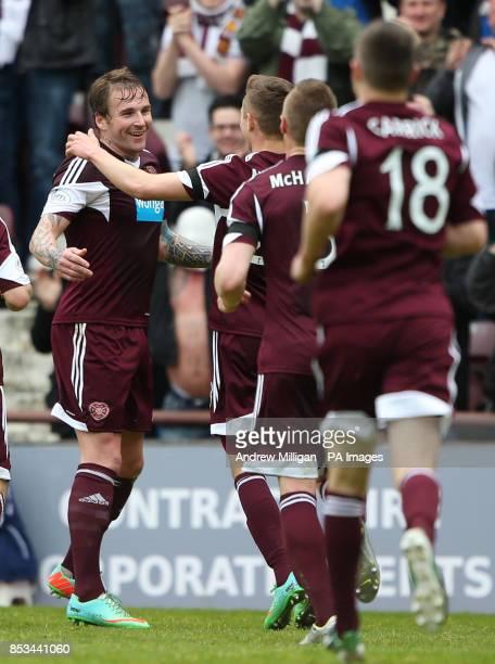 Hearts' Ryan Stevenson celebrates scoring his second goal during the Scottish Premier League match at Tynecastle Stadium Edinburgh