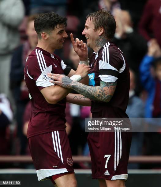 Hearts Ryan Stevenson celebrates scoring his third goal against Kilmarnock during the Scottish Premier League match at Tynecastle Stadium Edinburgh