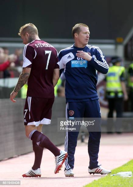 Hearts' Ryan Stevenson goes off injured during the Scottish Premiership match at Tynecastle Stadium Edinburgh
