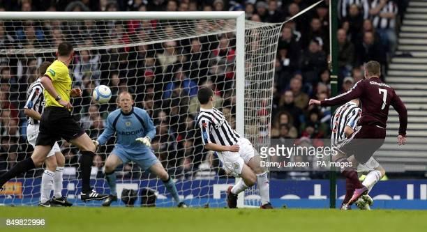Heart's Ryan Stevenson scores during the Scottish Communities League Cup Final at Hampden Park Glasgow