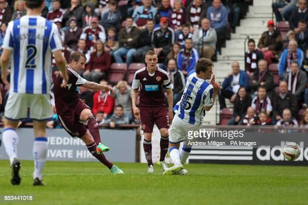 Hearts' Ryan Stevenson scores his second goal against Kilmarnock during the Scottish Premier League match at Tynecastle Stadium Edinburgh