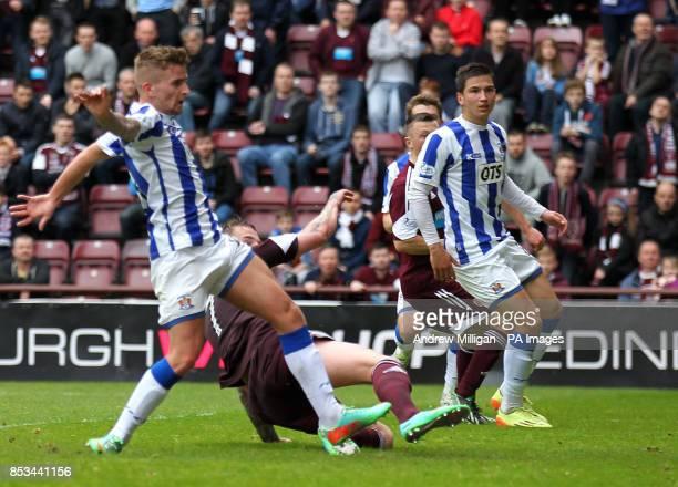 Hearts Ryan Stevenson scores his third goal against Kilmarnock during the Scottish Premier League match at Tynecastle Stadium Edinburgh