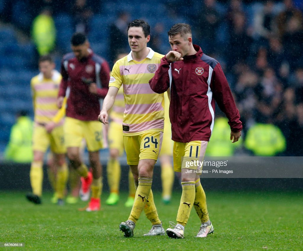 Hearts' Sam Nicholson (right) and Liam Smith appear dejected after the Ladbrokes Scottish Premiership match at Ibrox, Glasgow.