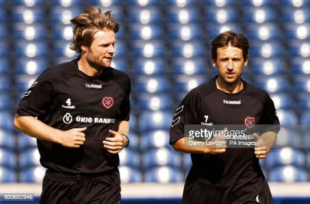 Heart's Steven Pressley and Neil McCann during a training session at Murrayfield Stadium Edinburgh
