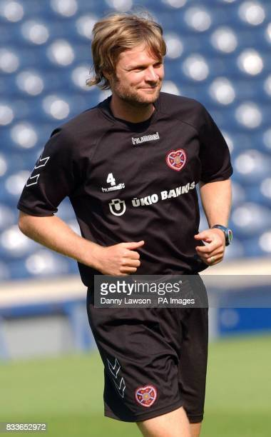 Heart's Steven Pressley during a training session at Murrayfield Stadium Edinburgh