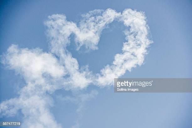 Heart-shape cloud in blue sky
