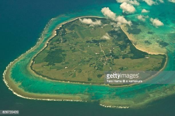 Heart-shape, Kuroshima island in Okinawa prefecture day time aerial view from airplane