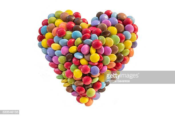 heart-shape made from candy
