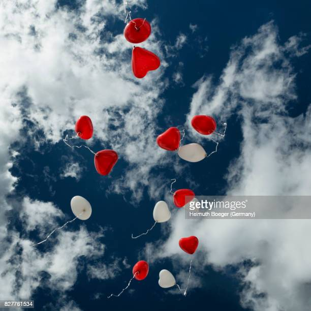 Heart-Shaped Balloons in the Sky