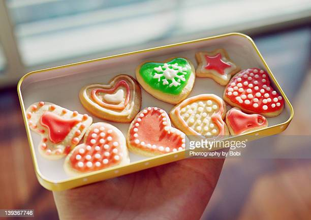 Heart-shaped biscuits made by self
