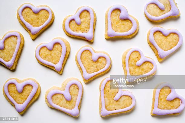 Heart-shaped biscuits with lilac icing