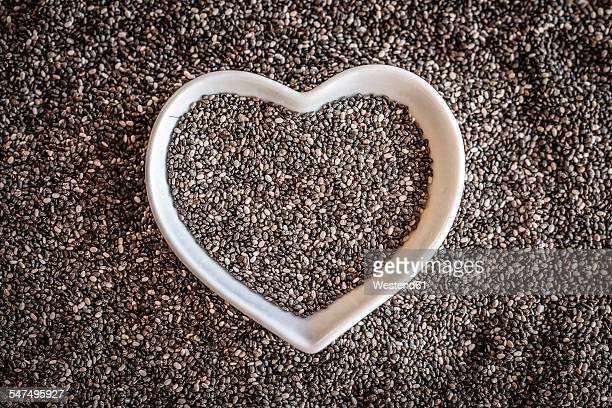 Heart-shaped bowl with chia seeds