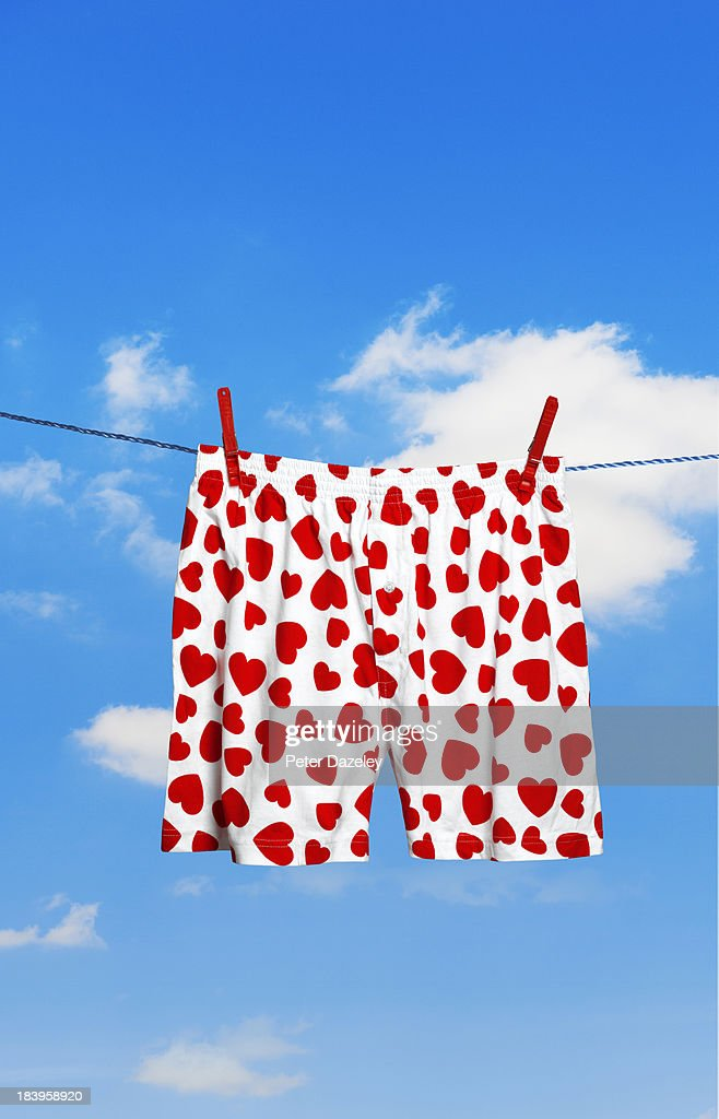 Heart-shaped boxer shorts on washing line