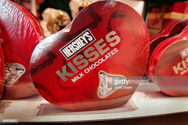 Heartshaped boxes of Hershey's chocolate are displayed at Hershey's Chicago February 13 2006 in downtown Chicago Illinois The store the second retail...
