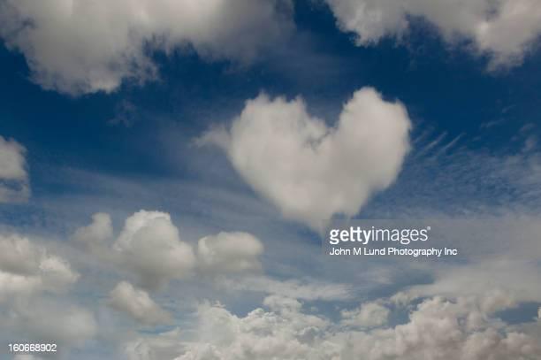 Heart-shaped cloud in sky
