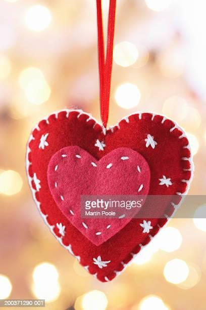 Heart-shaped felt decoration, close up