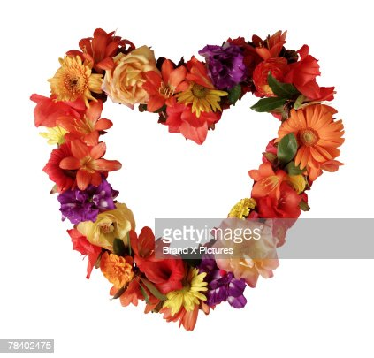 Heart-shaped floral wreath : Stock Photo