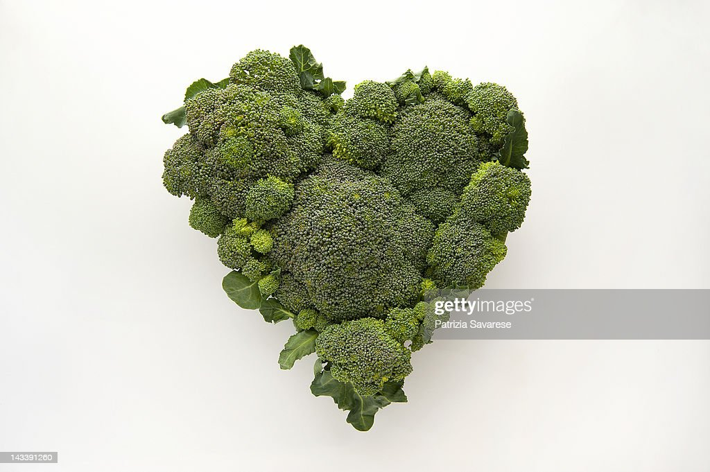 Heart-shaped formed by fresh Broccoli : Stock Photo