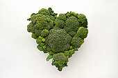 Heart-shaped formed by fresh Broccoli
