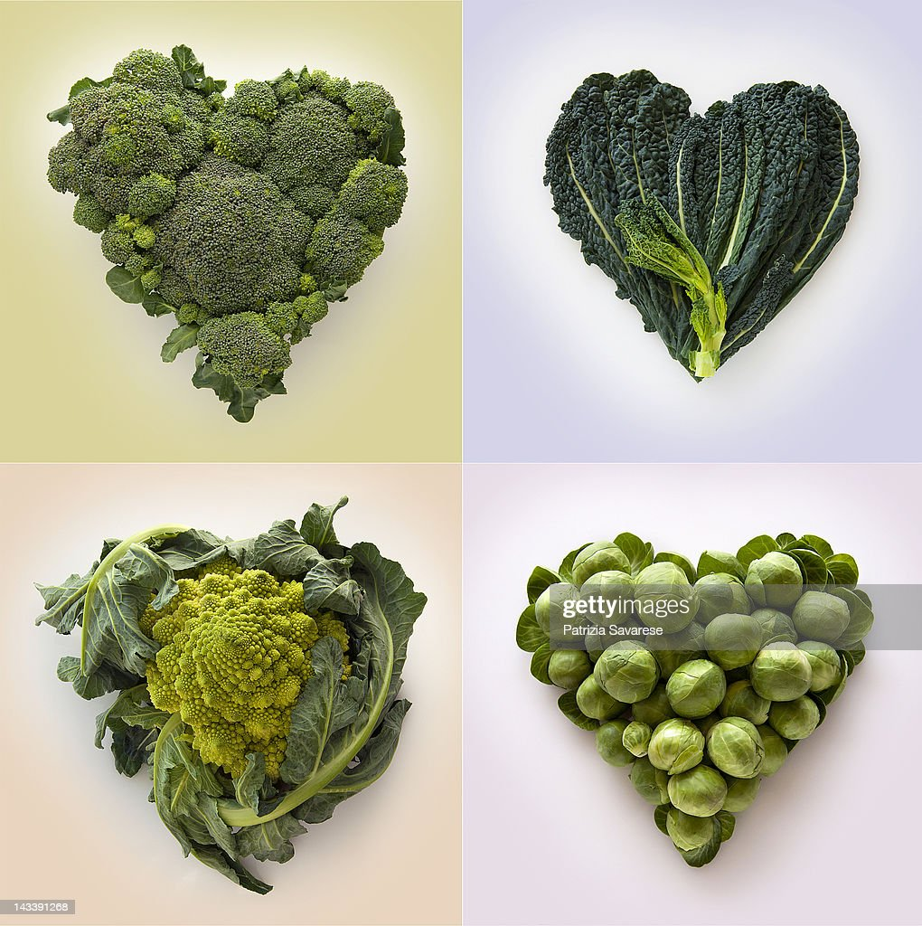 Heart-shaped formed by fresh Cabbage family : Stock Photo