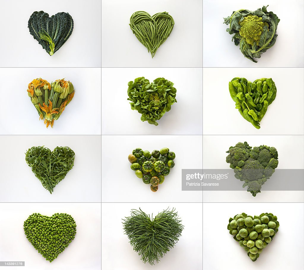 Heart-shaped formed by fresh vegetables : Stock Photo