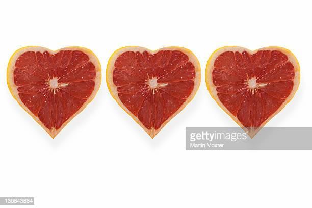 Heart-shaped grapefruits