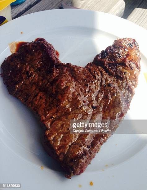 Heart-shaped juicy steak