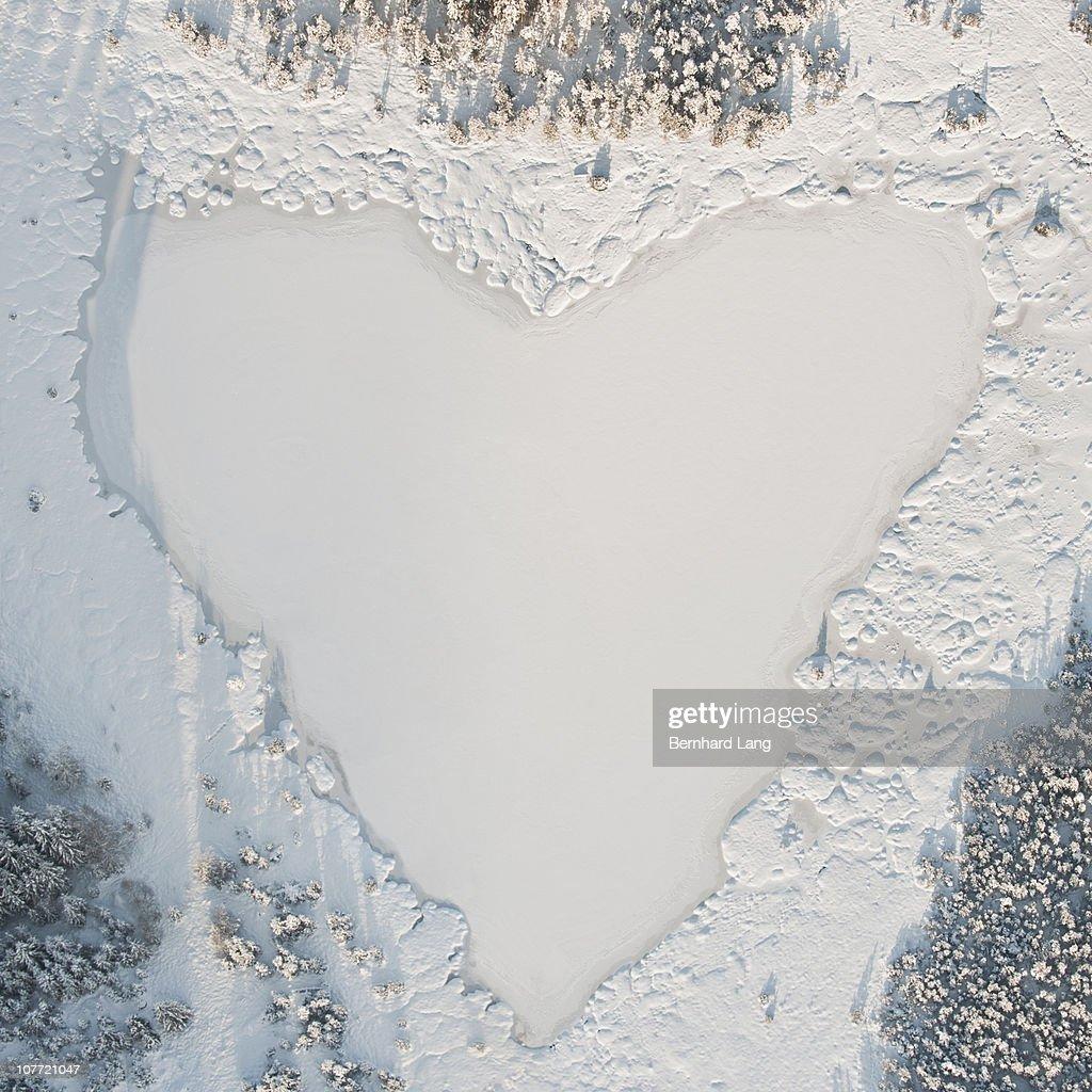 Heart-shaped lake, aerial view : Stock Photo