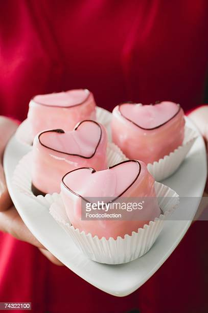 Heart-shaped punch cakes