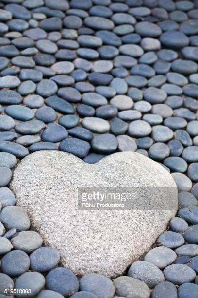 Heart-shaped stone on path