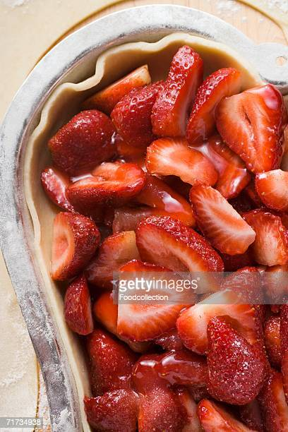 Heart-shaped strawberry pie, unbaked (close-up)